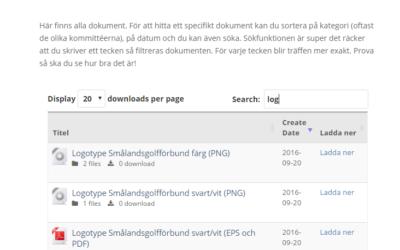 Smålandsgolfförbunds logotype finns nu i dokumentarkivet