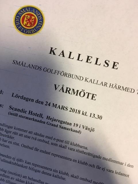 Kallelse till Vårmöte i Smålands Golfförbund